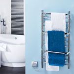 Dimplex has added a new compact 'stepped' towel rail to its collection of electric heated towel rails