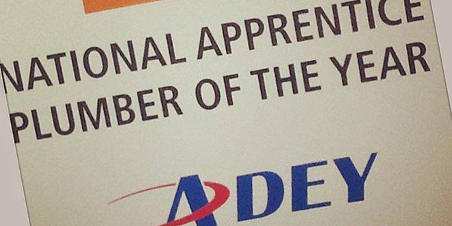 ADEY helps crown National Apprentice Plumber of the Year