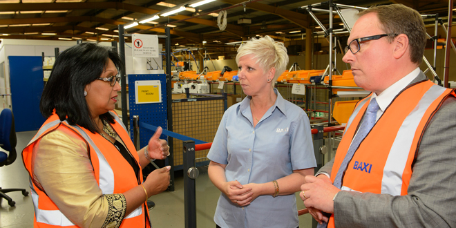 Baroness Verma, at Baxi's manufacturing facility in Preston