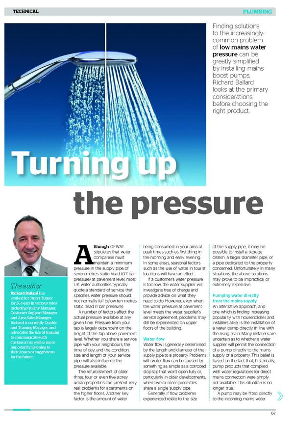 Low water pressure article web