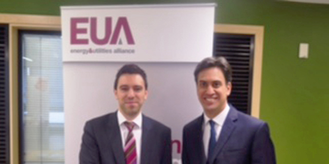 Mr Miliband and Isaac Occhipinti, External Affairs Manager attached