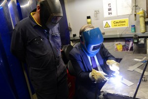 Ed Balls MP gives welding a go