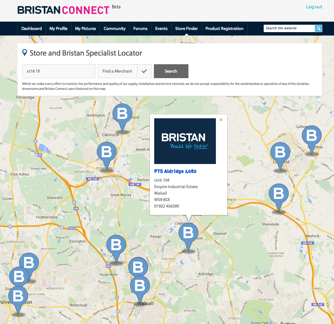 Bristan Store Finder