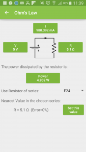 EP ElectroDroid Ohms law calculator