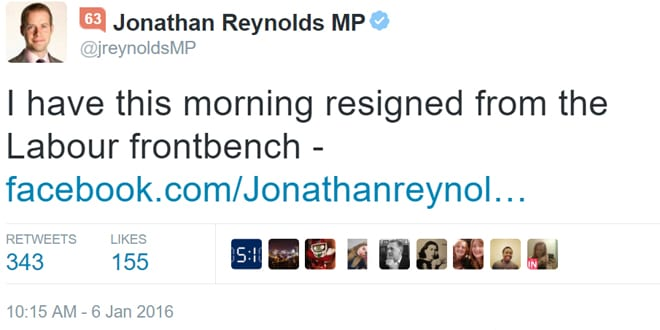 Popular - Former Shadow Minister for Energy Jonathan Reynolds resigns from Labour's frontbench