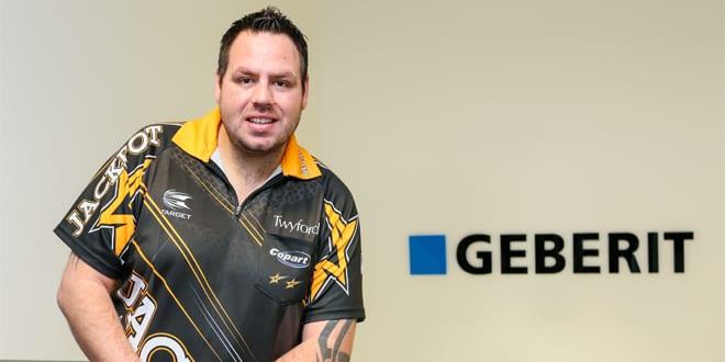 "Popular - Geberit sponsoring darts champion Adrian ""Jackpot"" Lewis"