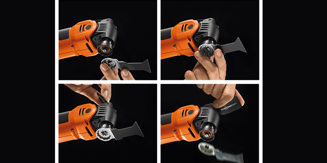 The Starlock mounting system lets installers change tool accessories in less than three seconds