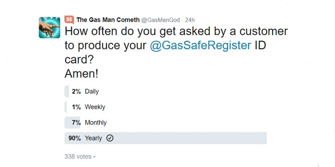 Popular - The vast majority of installers DON'T get asked to show their Gas Safe Card – Says online poll