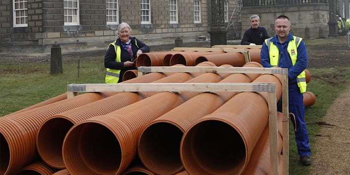 Popular - Polypipe donates product to help stately home plan prepare for a green heating system